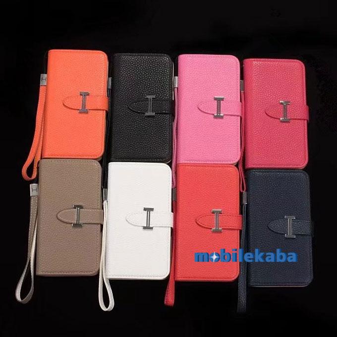 人気 エルメス HERMES iPhone8 ケース ブランド 磁石なし 便利 収納 ストラップ 手帳 多機種対応 Galaxy Note 8 カバー