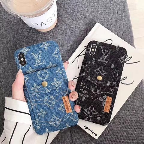 ヴィドン アイフォンxs maxケース デニム製 LV アイフォン xr/xsケース モノグラム iphone xカバー ルイヴィトン ブラント LV iPhone 8/7 plusケース カードポケット付き