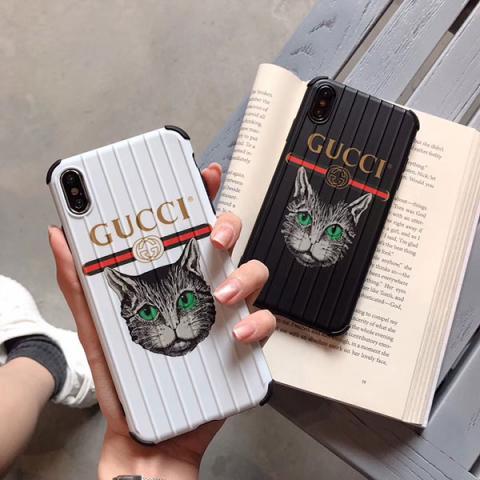 ブラント Gucci アイフォン XS MAXケース ペア グッチ iphone XRカバー 猫柄 iphone X/XSケース グッチ アイフォン 7/8 plusケース 凹凸紋様 男女兼用