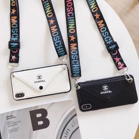 ブランド chanel アイフォン 11PRO/11/xiケース 封筒型 女性向け シャネル iphone 11pro max/xs/xs maxケース ネックストラップ付き アイフォン XR/Xカバー CHANEL おしゃれ 白色 黒色