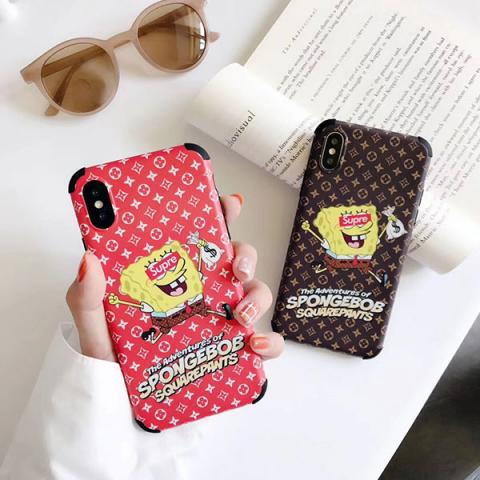 Supreme iphone 11pro max/11proケース ペア 可愛い スポンジ・ボブ柄 アイフォン11/xs maxカバー シュプリーム IPHONE xs/xr/xケース 人気 若者愛用