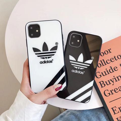 アディダス iphone11pro/11Pro Maxケース ペア向け ナイキ アイフォン 11pro/11ケース 白 黒 iPhone XS MAX/XSケース ガラス Adidas IPHONE XR/Xカバー 男女兼用 シンプル スポ