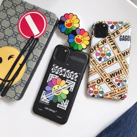オフホワイト アイフォン 11/11proケース 村上隆 iPhone 11Pro Max/XSケース スタンド付き 可愛い off-white アイフォンxr/xs max保護カバー 花柄 人気 IPHONE X/8ケース
