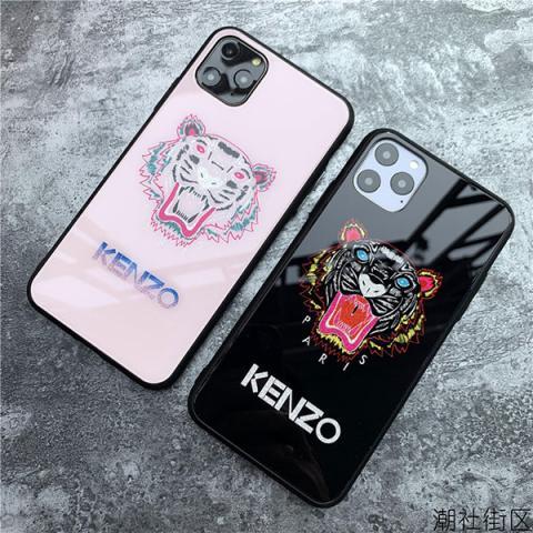 ケンゾー アイフォン 11/11proケース ブランド KENZO iphone 11Pro Max/xs maxケース トラ柄 iphone xs/xrカバー ペア iphone x/8/7plusケース 個性 ガラスケース