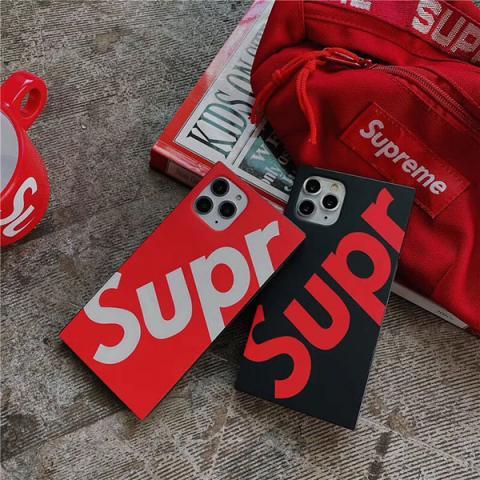 シュプリーム アイフォン11pro maxケース ペア supreme iPhone 11pro/11ケース スクエア型ケース 人気 アイフォンXS MAX/XSカバー Supreme アイフォンxr/x/8ケース レッド ブラック